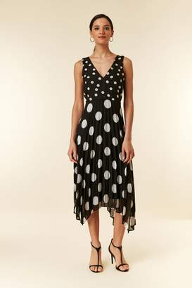 WallisWallis Black Polka Dot Pleated Midi Dress