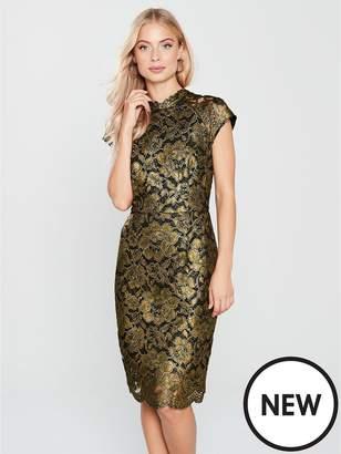 Phase Eight Janie Foil Print Lace Dress - Black/Gold