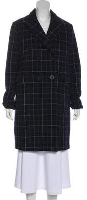 Sacai Wool Patterned Knee-Length Coat