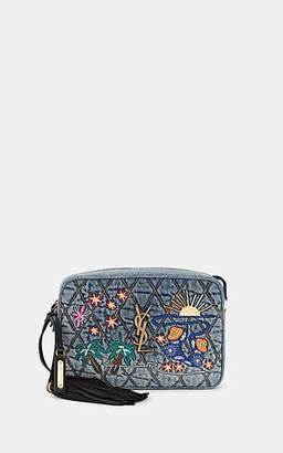 Saint Laurent Women's Monogram Lou Medium Denim Crossbody Bag - Blue