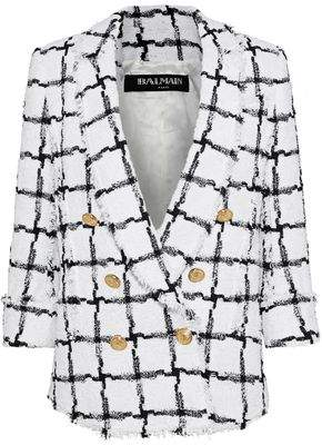 Balmain Double-Breasted Checked Bouclé-Tweed Blazer