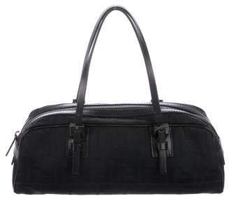 Fendi Vintage Leather-Trimmed Zucca Canvas Handle Bag