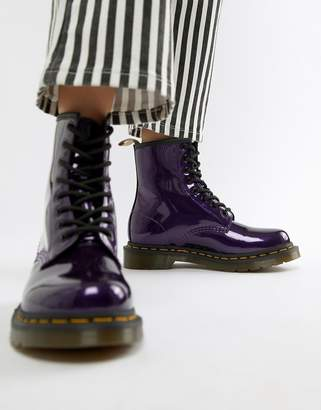 Dr. Martens 1460 Purple Chrome Flat Ankle Boots