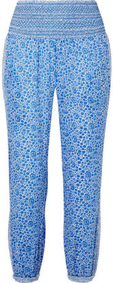 Hatch Ziggy Smocked Floral-print Cotton-voile Tapered Pants - Blue
