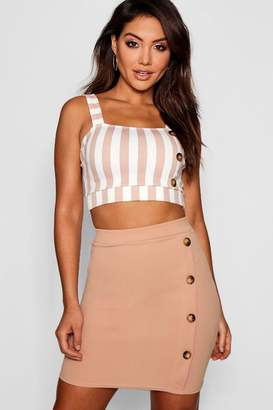 boohoo Button Detail Bodycon Mini Skirt