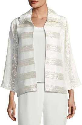 Caroline Rose Metallic Striped Ruched-Collar Jacket