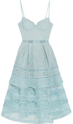 Self-Portrait - Tiered Paneled Guipure Lace Dress - Sky blue $475 thestylecure.com