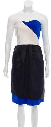 Prabal Gurung Strapless Colorblock Dress
