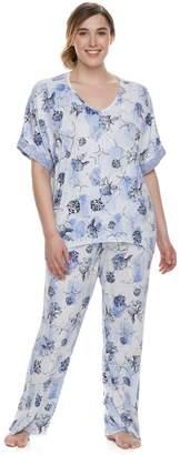 Apt. 9 Plus Size Lace Trim Tee & Pants Pajama Set