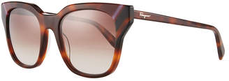 Salvatore Ferragamo Colorblock Square Sunglasses