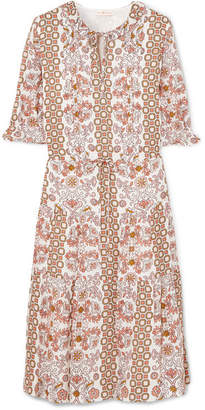 Tory Burch Serena Printed Silk Dress - Beige