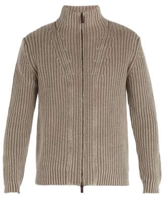 Iris von Arnim Lucas High Neck Zip Through Cashmere Cardigan - Mens - Light Brown