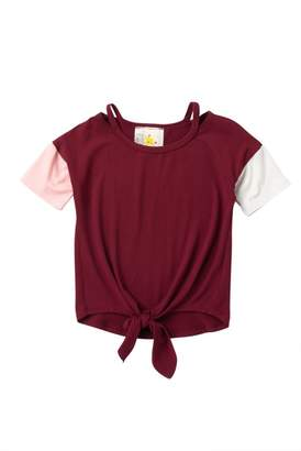 Lily Bleu Front Tie Stripe Screen Tee (Little Girls)