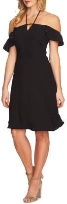 Cynthia Steffe CeCe by Flutter Sleeve Halter Neck Dress