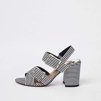 River Island Black stripe two part block heel sandals