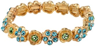 1928 Simulated Crystal Floral Stretch Bracelet