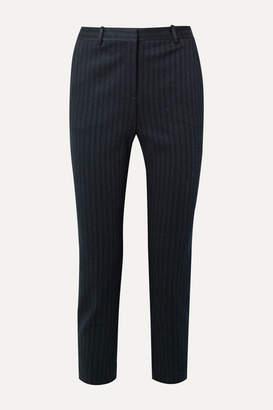 Theory Cropped Pinstriped Stretch-knit Slim-leg Pants - Midnight blue