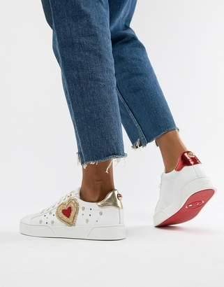 Dune Elgar white leather love bug sneakers