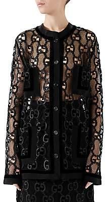 Gucci Women's GG Leather Macramé Jacket