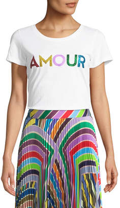Milly Amour Scoop-Neck Graphic Tee