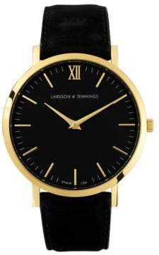 Larsson & Jennings Core Lugano 18K Gold-Plated Stainless Steel Bovine Leather Strap Watch