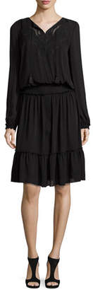 Elie Tahari Marla Tiered Silk Dress w/ Embroidered Yoke, Black $498 thestylecure.com