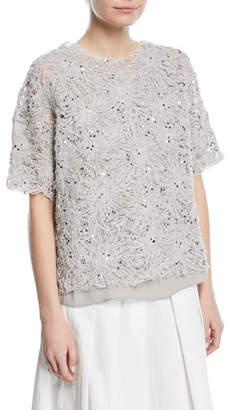 Brunello Cucinelli Floral-Embroidered Paillette Artisan Cotton Linen Top