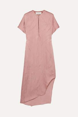 Esteban Cortazar Asymmetric Crinkled-satin Dress