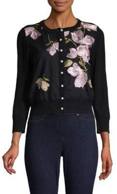 Embroidered Floral Button-Down Cardigan