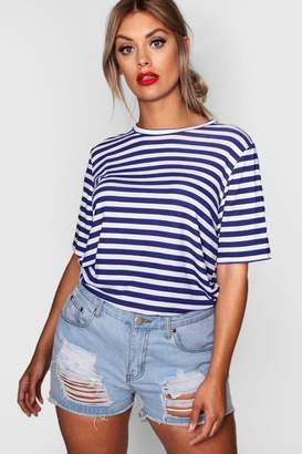 boohoo Plus Louise Stripe Basic Jersey Tee