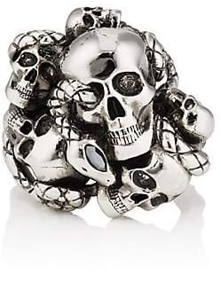 Alexander McQueen Men's Skull & Snake Ring - Silver