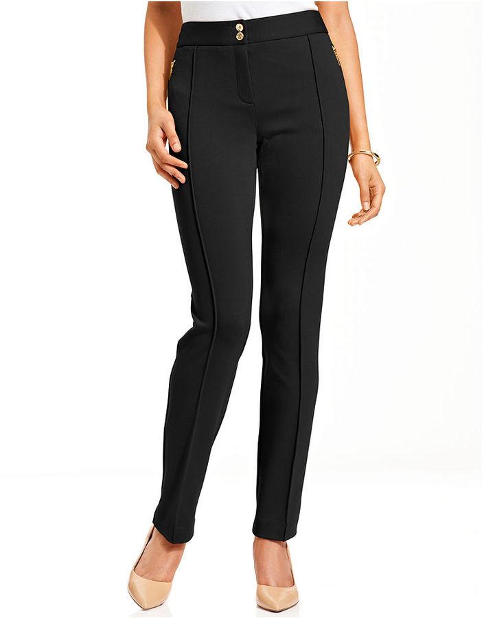 Charter Club Pants, Skinny Zippered Seamed Ponte