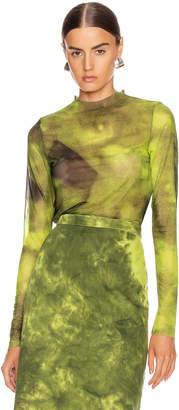 Marques Almeida Marques ' Almeida Long Sleeve Mesh Top in Lime Tie Dye   FWRD