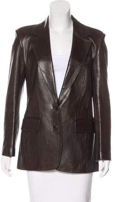 Gucci Leather Structured Blazer