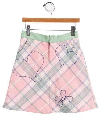 Cacharel Girls' Embroidered Plaid Skirt