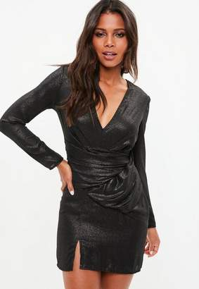 Missguided Black Metallic Long Sleeve Wrap Plunge Dress