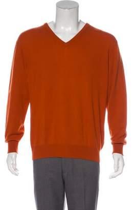 Loro Piana Cashmere V-Neck Sweater orange Cashmere V-Neck Sweater