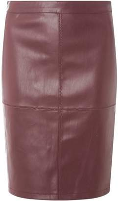 Dorothy Perkins Womens **Vila Burgundy Faux Leather Skirt
