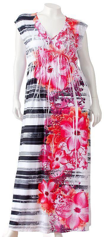 Apt. 9 floral embellished sublimation maxi dress - women's plus