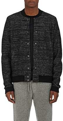 Barneys New York Men's Mélange Wool-Blend Bomber Jacket - Black Pat.