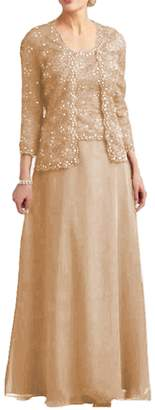 Dressyu Lace Mother of The Bride Dress with Jacket Beaded Long Vintage Chiffon Formal Gown