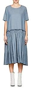 Yohji Yamamoto Regulation Women's Herringbone-Weave Chambray Pleated Dress - Blue