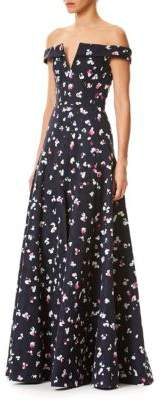 Carolina Herrera Printed Off-The-Shoulder Gown