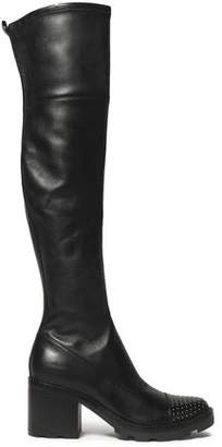 Sigerson Morrison Gemma Studded Stretch-Suede Thigh Boots
