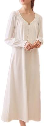 SINGINGQUEEN Women Victorian Nightgown Vintage Cotton Sleepwear Long Night robe Pajamas Loungewear