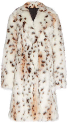 Calvin Klein Lynx Faux Fur Fitted Coat With Elbow Patches