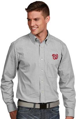 Antigua Men's Washington Nationals Associate Plaid Button-Down Shirt