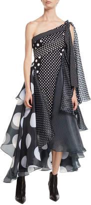 Richard Quinn One-Shoulder Paneled Polka-Dot Multi-Fabric Cocktail Dress