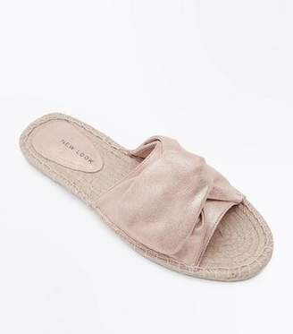 New Look Rose Gold Knot Strap Espadrille Sliders