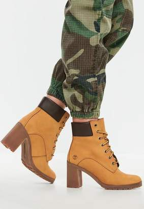 Missguided Timberland Wheat Nubuck Allington 6 Inch Lace Up Boots